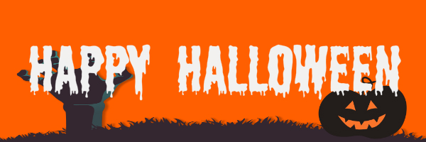 "Orange colored banner with a zombie hand and pumpkin with text ""Happy Halloween"""