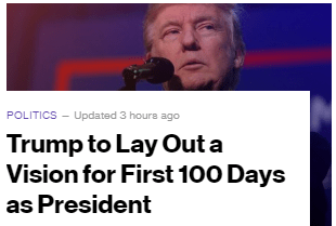 Donald Trump is apparently going to give us his 100 day, 100 point, plan...