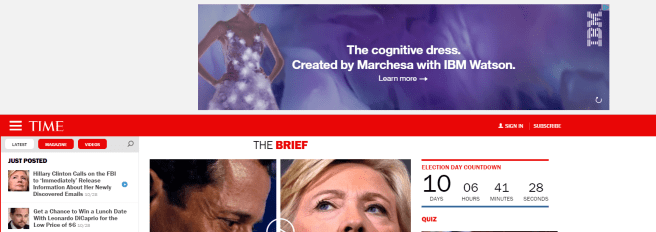 A screenshot of a large header advertisement on Time.com