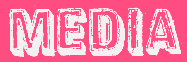 "Pink colored banner with text ""media"""
