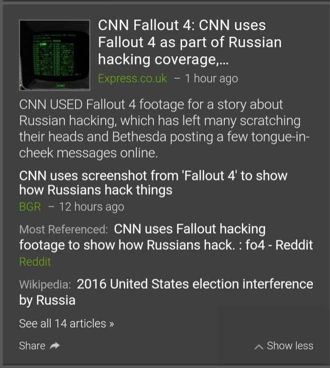 A screenshot of news stories covering CNN's use of Fallout 4 in its coverage of Russian hacking.