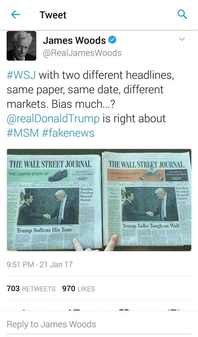 James Woods tweet showing a picture of the WSJ with two separate headlines about Trump's meeting with the Mexican President.