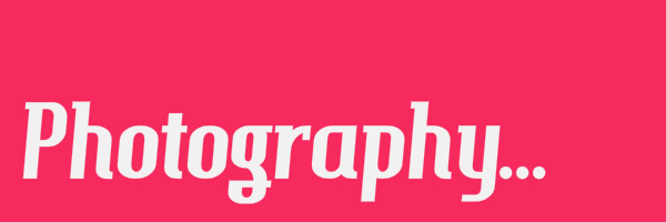 "Pink colored banner with text ""Photography"""