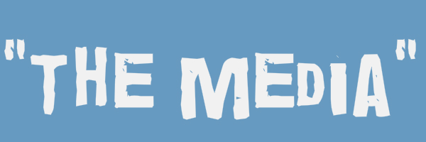 """Blue colored banner with text """"The Media"""""""