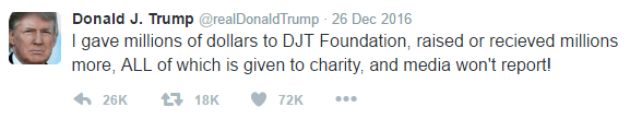 Text of Trump's tweet is as follows: I gave millions of dollars to DJT Foundation, raised or recieved millions more, ALL of which is given to charity, and media won't report!