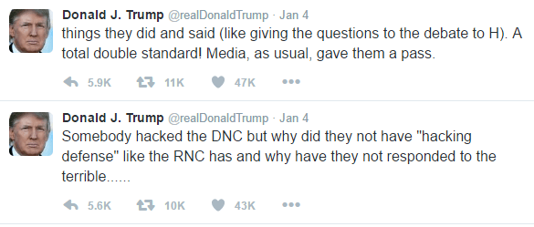 "The text of Donald Trump's two threaded tweets is as follows: Somebody hacked the DNC but why did they not have ""hacking defense"" like the RNC has and why have they not responded to the terrible...... things they did and said (like giving the questions to the debate to H). A total double standard! Media, as usual, gave them a pass."