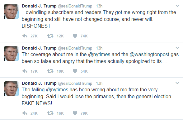Text of Trump's three tweets is as follows: The failing @nytimes has been wrong about me from the very beginning. Said I would lose the primaries, then the general election. FAKE NEWS! Thr coverage about me in the @nytimes and the @washingtonpost gas been so false and angry that the times actually apologized to its..... ..dwindling subscribers and readers.They got me wrong right from the beginning and still have not changed course, and never will. DISHONEST