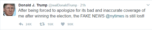 Text of Trump's tweet reads as follows: After being forced to apologize for its bad and inaccurate coverage of me after winning the election, the FAKE NEWS @nytimes is still lost!