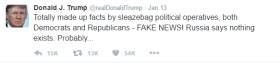 Text of Trump's tweets regarding golden showers is as follows: Totally made up facts by sleazebag political operatives, both Democrats and Republicans - FAKE NEWS! Russia says nothing exists. Probably...