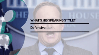 3. What's his speaking style? Defensive.