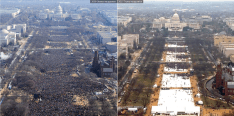 Side by side showing Obama's crowd on the left and Trump's on the right.