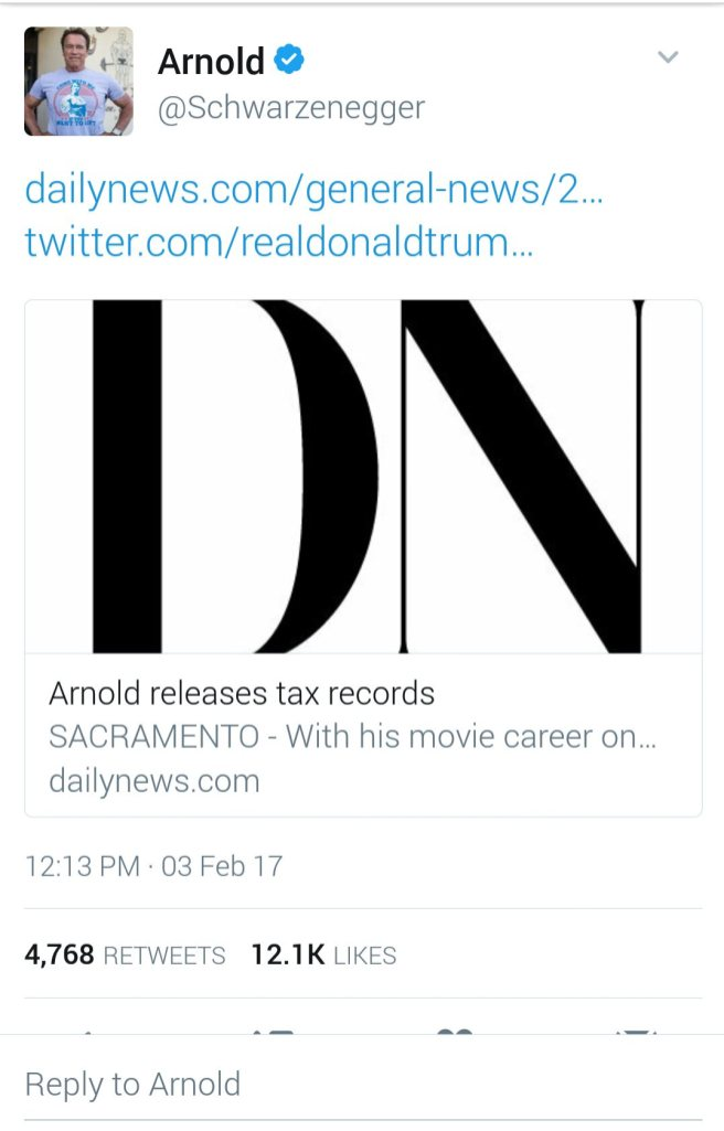 Screenshot of Arnold's reply to Donald Trump's tweet about him.