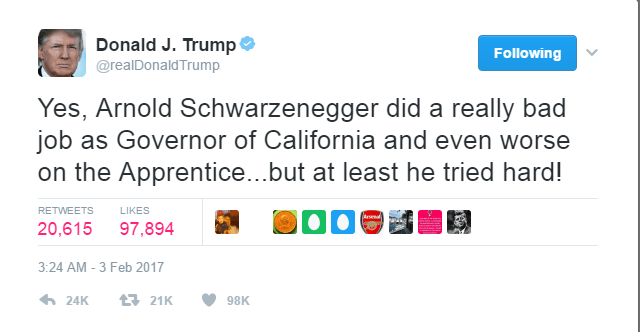 The text of Donald Trump's tweet concerning Arnold is as follows: Yes, Arnold Schwarzenegger did a really bad job as Governor of California and even worse on the Apprentice...but at least he tried hard!