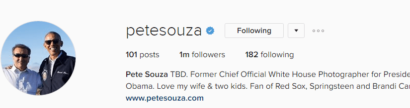 Pete Souza's Historical Highlights on Instagram