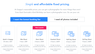 A screenshot of Snappr's pricing. Prices start at $59 for 30 minutes.