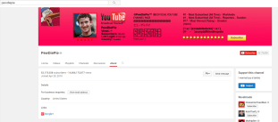 Screenshot of PewDiePie's total views and followers on YouTube on Tuesday, February 14, 2017