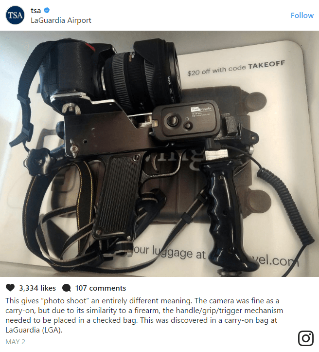 """""""This gives """"photo shoot"""" an entirely different meaning. The camera was fine as a carry-on, but due to its similarity to a firearm, the handle/grip/trigger mechanism needed to be placed in a checked bag. This was discovered in a carry-on bag at LaGuardia (LGA)."""""""