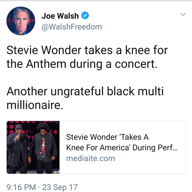 """""""Stevie Wonder takes a knee for the Anthem during a concert. Another ungrateful black multi millionaire."""""""