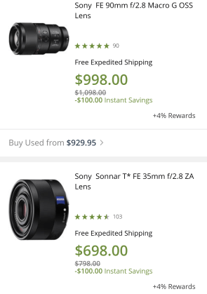 $100 off is the most the 90mm macro has been discounted... the 35mm pancake can be purchased at $698 regularly.