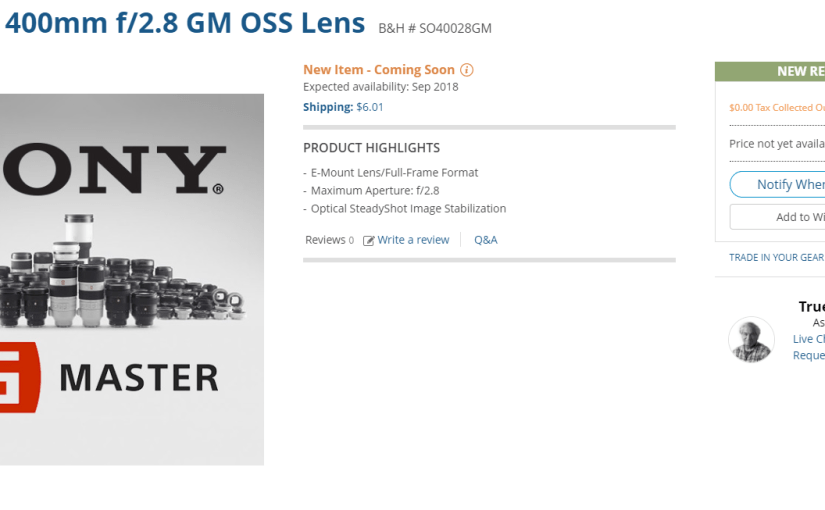 The Sony 400mm Telephoto Lens – <em>Coming Soon…</em>