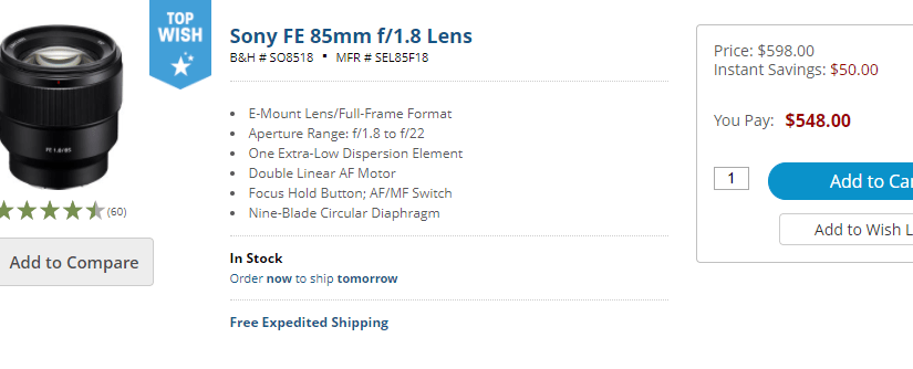 The Sony 85mm f/1.8 is on Sale