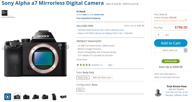 Sony a7 full frame camera at B&H for $800
