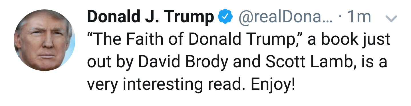 """Donald Trump plugging the book """"The Faith of Donald J. Trump: A Spiritual Biography"""" on his twitter account"""