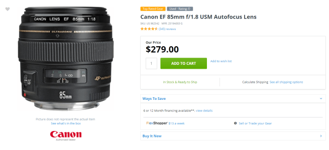 Excellent minus rated used Canon EF 85mm f/1.8 USM for $280...
