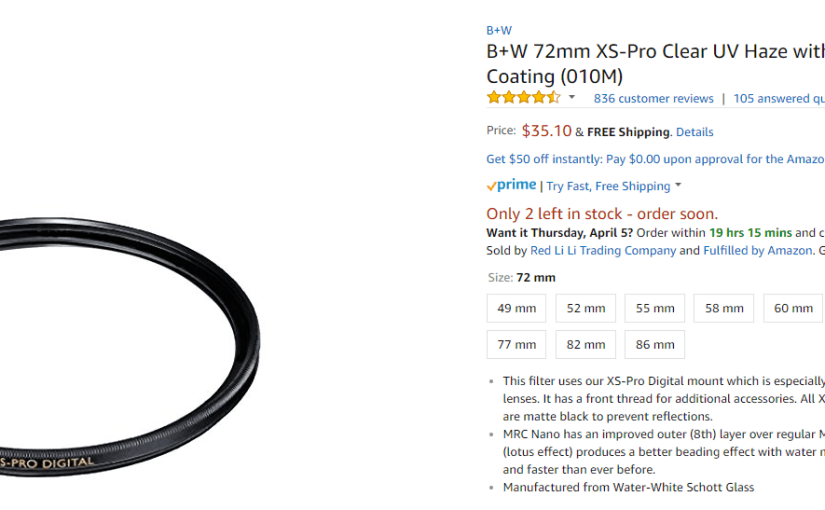Counterfeit B+W Filters and the Amazon dot com Continued