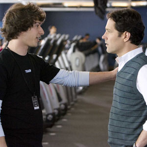 Peters (Rudd, r) gay brother Robbie (Samberg, l) gives him tips on picking up guys. Hilarity ensues.