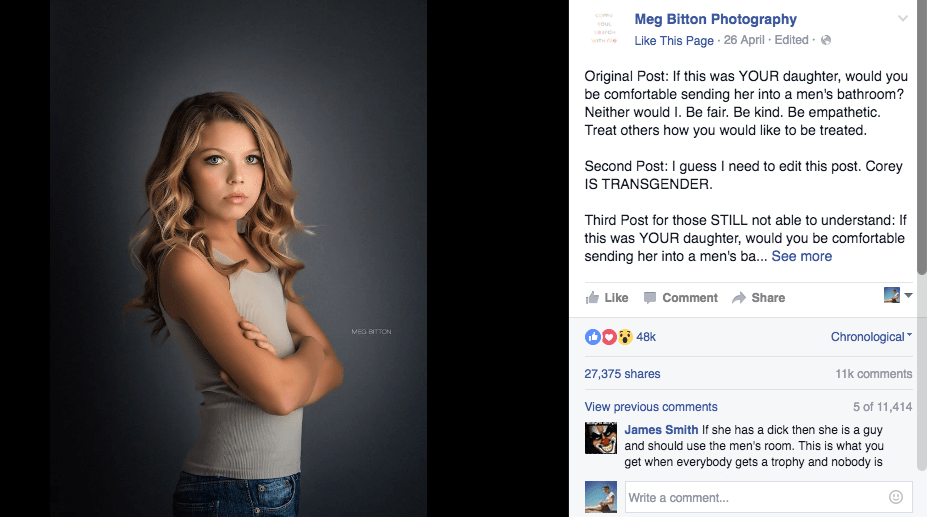 Photo of young trans girl highlights hypocrisy of North Carolinas transphobic bathroom bill