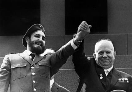 (FILES) Cuban First Secretary of the Cuban Communist party and President of the State Council Fidel Castro (L) is shown in file photo dated May 1963 holding the hand of Soviet leader Nikita Khrushchev during a four-week offical visit to Moscow. Fidel Castro resigned on February 19, 2008 as president and commander in chief of Cuba in a message published in the online version of the official daily Granma. AFP-PHOTO 5 POL CUB AFP/FILES (Photo credit should read OFF/AFP/Getty Images)