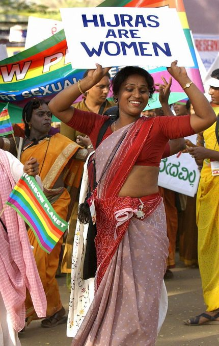 An Indian Hijra, or transexual, leads a
