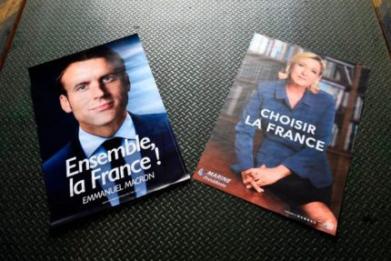 Macron and Le Pen election posters
