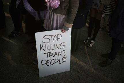 Stop killing trans people sign in Chicago protest