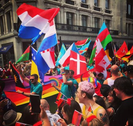 Flags at Pride in London 2017