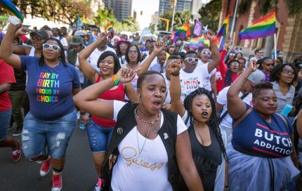 Members of the South African Lesbian, Gay, Bisexual and Transgender and Intersex (LGBTI) community chant slogans as they take part in the annual Gay Pride Parade, as part of the three-day Durban Pride Festival, on June 24, 2017 in Durban. / AFP PHOTO / RAJESH JANTILAL (Photo credit should read RAJESH JANTILAL/AFP/Getty Images)