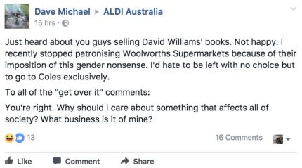 Parent protesting Aldi for selling the book