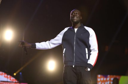 LONDON, ENGLAND - OCTOBER 22: Stormzy wins 'Most Entertaining Celeb!' at the BBC Radio 1 Teen Awards 2017 at Wembley Arena on October 22, 2017 in London, England. (Photo by Tim P. Whitby/Tim P. Whitby/Getty Images)