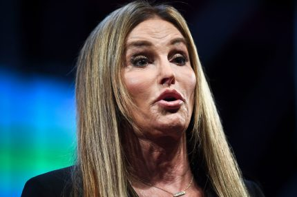Transgender rights advocate and former Olympian Caitlyn Jenner delivers a speech during the 2017 Web Summit in Lisbon on November 9, 2017.  Europe's largest tech event Web Summit is being held at Parque das Nacoes in Lisbon from November 6 to November 9.  / AFP PHOTO / PATRICIA DE MELO MOREIRA        (Photo credit should read PATRICIA DE MELO MOREIRA/AFP/Getty Images)