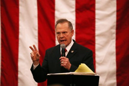 MIDLAND CITY, AL - DECEMBER 11: Republican Senatorial candidate Roy Moore speaks during a campaign event at Jordan's Activity Barn on December 11, 2017 in Midland City, Alabama. Mr. Moore is facing off against Democrat Doug Jones in tomorrow's special election for the U.S. Senate. (Photo by Joe Raedle/Getty Images)