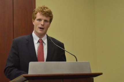 """WASHINGTON, DC- SEPTEMBER 30:  Representative Joseph Kennedy (D-MA) speaks during a private screening of """"Food Chains"""" in the Capitol Visitors Center on September 30, 2015 in Washington, DC.   (Photo by Kris Connor/Getty Images for """"Food Chains"""")"""