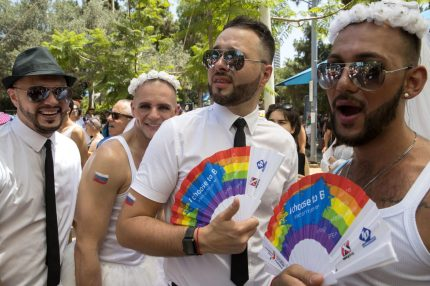 Russians take part in the annual Gay Pride parade in the Israeli city of Tel Aviv, on June 9, 2017.  Tens of thousands of revellers from Israel and abroad packed the streets of Tel Aviv for the city's annual Gay Pride march, billed as the Middle East's biggest. / AFP PHOTO / JACK GUEZ        (Photo credit should read JACK GUEZ/AFP/Getty Images)