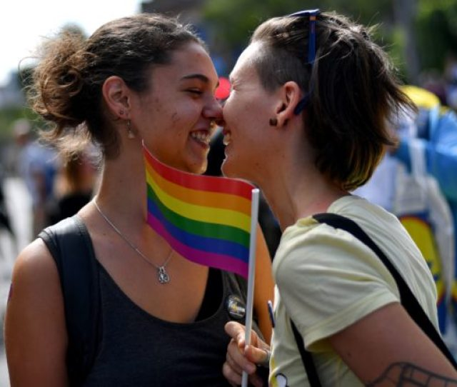 Topshot Two Women React During The Gay Pride Parade On September 17 2017 In