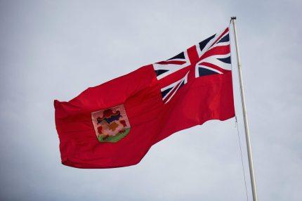 The flag of Bermuda flies in the city of Hamilton, Bermuda