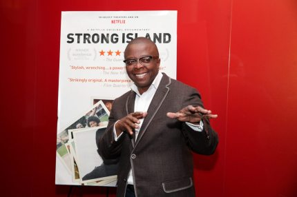 """SAN FRANCISCO, CA - NOVEMBER 14:  Director Yance Ford poses for a photo at a special screening of """"Strong Island"""" at Landmark Embarcadero on November 14, 2017 in San Francisco, California.  (Photo by Kelly Sullivan/Getty Images for Netflix)"""