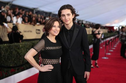 LOS ANGELES, CA - JANUARY 21: Nicole Flender (L) and actor Timothee Chalamet attend the 24th Annual Screen Actors Guild Awards at The Shrine Auditorium on January 21, 2018 in Los Angeles, California. 27522_010 (Photo by Christopher Polk/Getty Images for Turner Image)