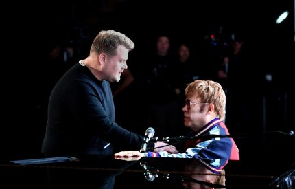 NEW YORK, NY - JANUARY 25:  Host James Corden (L) and musician Elton John speak onstage for the 60th Annual GRAMMY Awards at Madison Square Garden on January 25, 2018 in New York City.  (Photo by Kevin Winter/Getty Images for NARAS)