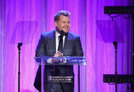 """BEVERLY HILLS, CA - FEBRUARY 27:  James Corden speaks onstage during WCRF's """"An Unforgettable Evening"""" Presented by Saks Fifth Avenue on February 27, 2018 in Beverly Hills, California.  (Photo by Neilson Barnard/Getty Images for WCRF)"""