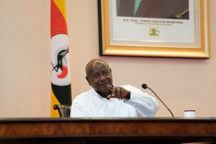 Ugandan President Yoweri Museveni reacts during a press conference with his Rwandan counterpart at the State House in Entebbbe, Uganda, on March 25, 2018. / AFP PHOTO / Michele Sibiloni (Photo credit should read MICHELE SIBILONI/AFP/Getty Images)